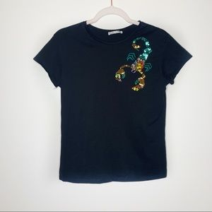 Zara Beaded Scorpion Black Tee Size Small